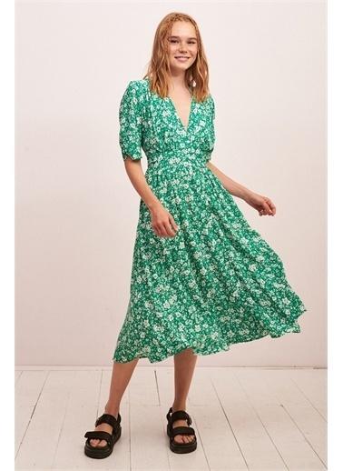 Never More Çiçek Desenli Fakir Kol Düğmeli Elbise Yeşil